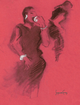 Singer in Red , artwork by Suzanne Cerny