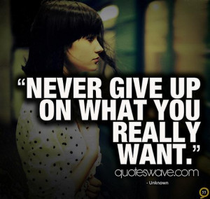 Never give up on what you really want.
