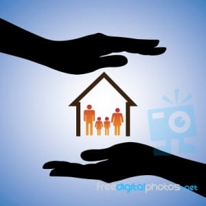 Silhouette Hand Holding Family Sign Stock Image