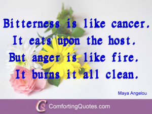 Quotes by Maya Angelou About Bitterness and Anger.