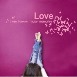 Love Butterfly Quote Letter Words Room Art Mural Wall Sticker Decal ...