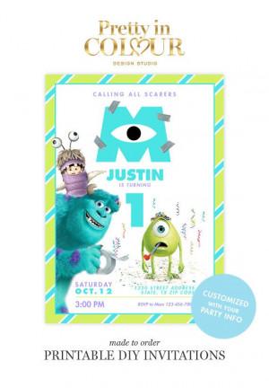 Monsters Inc Birthday Invitations Design By PrettyinColour $14