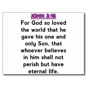 Bible Verses - John 3:16 Post Card