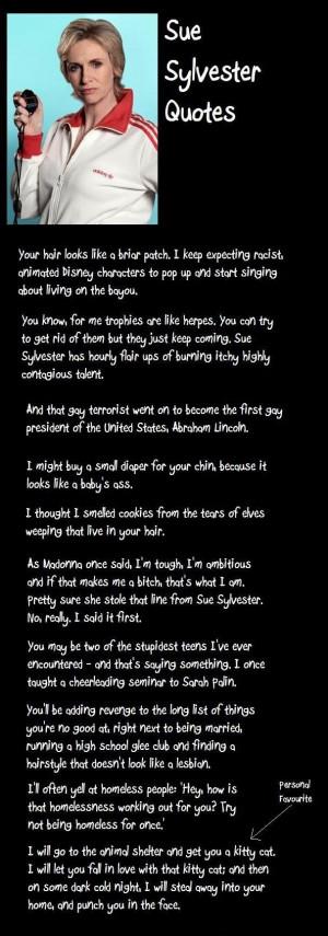 Sue Sylvester quotes lol I love glee @katlyn clay @Katie Clay look at ...