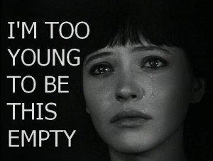 crying, empty, quote, sad, young