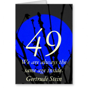 49th Birthday Blue and Black Quote Greeting Card