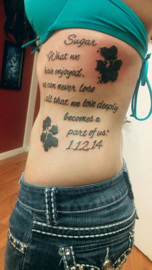 Lettering Dog Paw Tattoos On Rib Side For Women