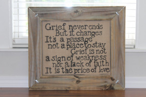 Custom Framed Grief Quote/ Burlap Canvas/ Custom Stencil/ Painted ...