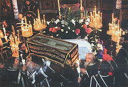 Beginning of the epitaphios procession at Great Saturday Matins
