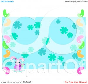 Easter Flower Border Clip Art Clipart of a pink easter bunny