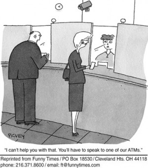 Funny Bank Teller Cartoon Cartoon of the week for march