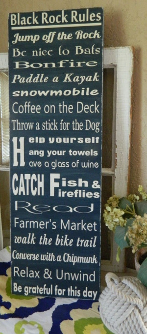 Lake Rules 12x36 handmade You pick your by CountryFolksCreation, $110 ...