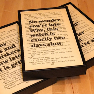 ... set of 3 Alice in Wonderland quotes, inked onto vintage book pages
