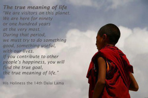 Quote on the true meaning of life by Dalai Lama