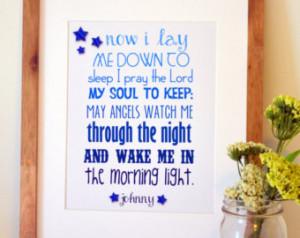 ... Prayer print Gift for goddaughter Godson Baptism gift Bedtime prayer