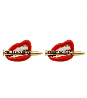 Post Metal Bold Theme Lips Trust no Bitch in/with Red Gold