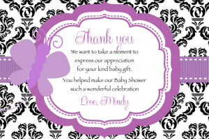 Damask Purple Butterfly Baby Shower Thank you Card- Printable File