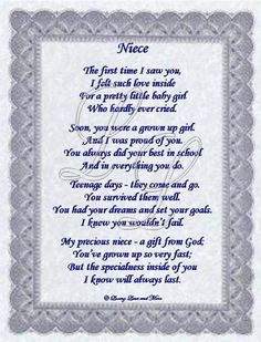 love my niece quotes and pics | Niece poem is about a special niece ...
