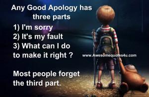Any good apology has three parts