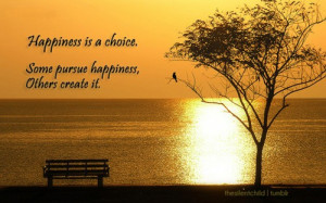 Happiness is a choice. Some pursue happiness, others it.