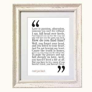Meet Joe Black Movie Quote. Typography Print. 8x10 on A4 Archival ...