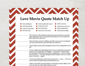 Love movie quote game for bridal shower | { Going to the Chapel