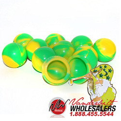 GREEN & YELLOW Dab Wax Shatter Silicone Non Stick Round Ball Jar ...