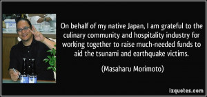 am grateful to the culinary community and hospitality industry ...