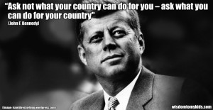 Inspirational quote by John F. Kennedy from inauguration speech 1961
