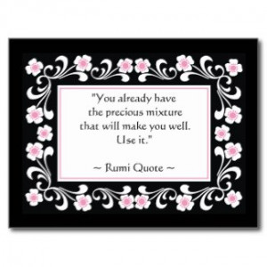 Rumi Quote Inspirational Motivational Postcard postcard