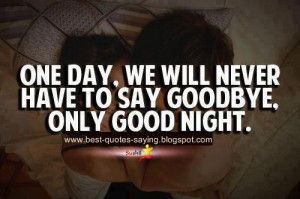 One Day We Will Never Have To Say Good bye only Good Night ...