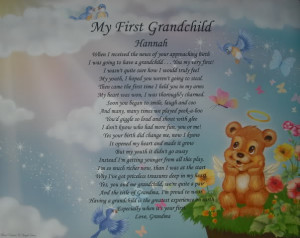 Personalized 1st Grandchild Poem Angel Bear Room Decor Birthday Gift ...