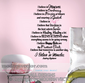 Details about Audrey Hepburn Vinyl Wall Quote Decal I BELIEVE IN PINK