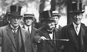 Lloyd George, Clemenceau and Wilson arrive at the Versailles Treaty ...