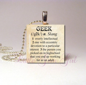 Geek Dictionary Definition Necklace Pendant - Funny Nerd Quote ...