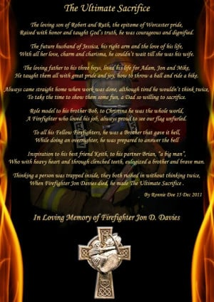 Jon D. Davies...The Ultimate Sacrifice (A firefighter's death)