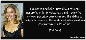 launched Chefs for Humanity, a national nonprofit, with my voice ...
