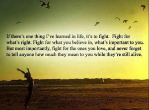 Motivational Quote on Fight for Life