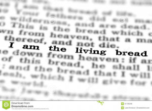 Detail closeup of New Testament Scripture quote I am the living breach ...