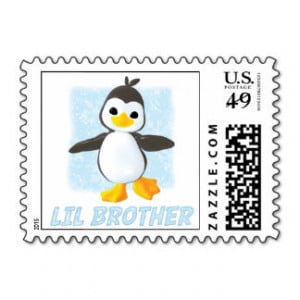 Happy Penguin Little Brother Postage Stamps