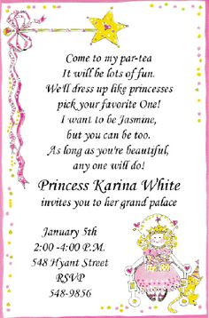 princesses parti invit birthday parti tea parti princess tea little ...