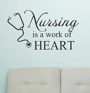 Vinyl-Wall-Lettering-Quotes-Nursing-is-a-work-of-Heart-Medical-Nurse ...