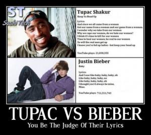 Tupac Lyrics compared to Justin Bieber