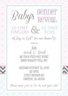 Adorable modern baby's gender reveal party invitation with gray ...