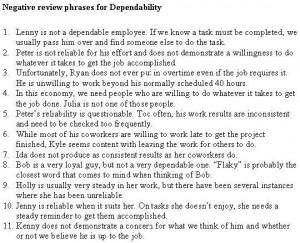 Self employee evaluation phrases