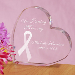 Personalized Breast Cancer Awareness Ribbon Memorial Keepsake