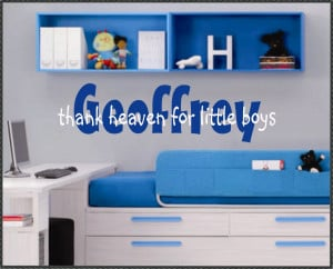 Vinyl Wall Quotes Nursery Decal Boy Name Thank Heaven