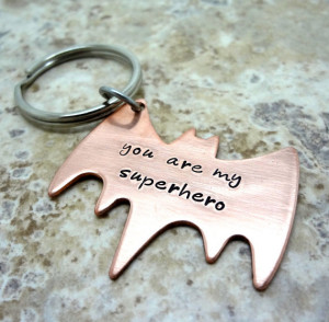 Superhero Key Chain - Hand Stamped Copper Batman Key Ring - Fathers ...