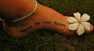 Among the Wild Flowers Foot Tattoo