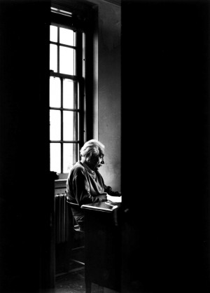 Alfred Eisenstaedt: Albert Einstein sitting alone at the Institute for ...